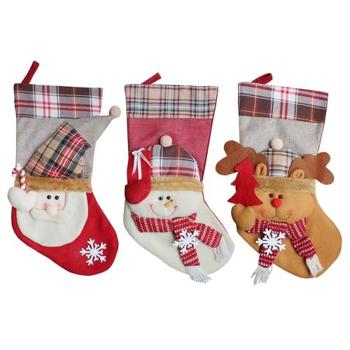 3pcs / set Noël Suspension Bas Noël Santa Snowman Cadeaux De Rennes Bonbons Noël Decoartions Ornements