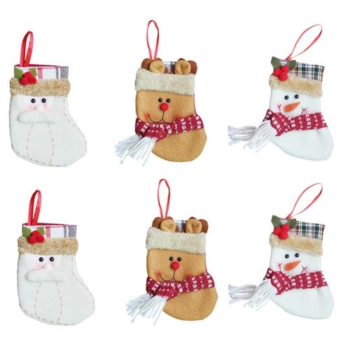 6pcs / set Рождественские висячие чулки