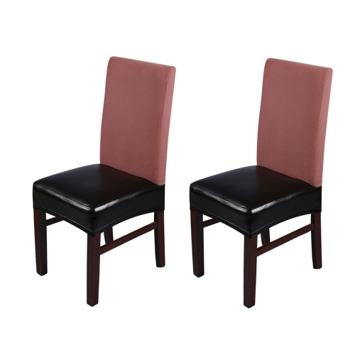 2pcs PU Leather Stretchable Dining Chair Seat Covers Waterproof Oilproof Dustproof Ceremony Chair Slipcovers Protectors--Pure Black