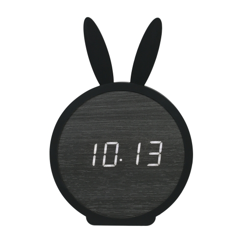 Kids Wooden LED Digital Alarm Clock USB & Battery Operated Sound Control Clock with Year / Month / Date / Time / Temperature Display 3 Alarms Settings--Black