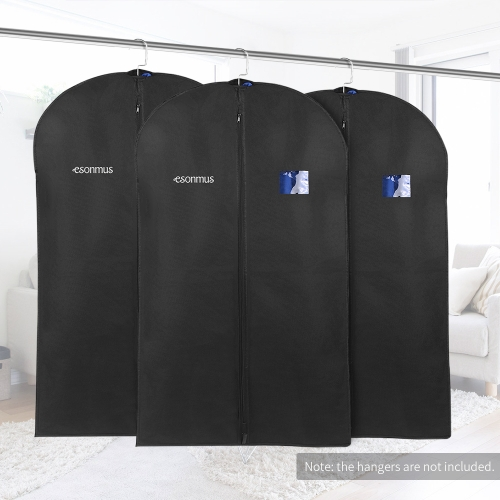 Esonmus 3pcs 128 * 60cm Non-Woven Dustproof Hanging Garment Clothes Bags Dress Suit Covers with PVC Window for Closet Travel--Black