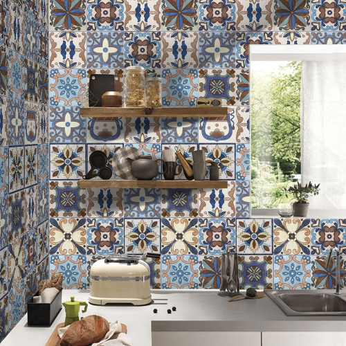 196 * 8 inches PVC Waterproof Self-adhesive 3D Vintage Colorful Tile Wallpaper Roll Wall Floor Contact Paper Stickers Covering Decal Home Decor