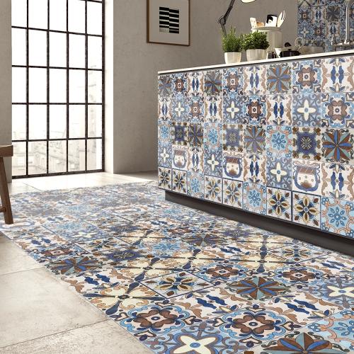 196 * 8 дюймов ПВХ Водонепроницаемый Самоклеящийся 3D Vintage Colorful Tile Wallpaper Roll Wall Floor Contact Бумажные наклейки Покрытие Decal Home Decor