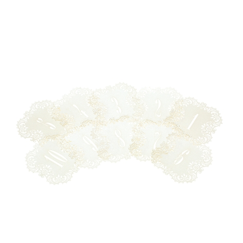10pcs/set Mini Pearl Paper Laser Cut Table Number Cards Place Cards for Weddings Party Banquet Decoration--Number 1-10 White