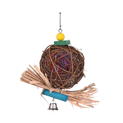 Juguetes para jaula de pájaros Soporte colgante Juguetes de forrajeo para loros Perca de pájaro con carrete de cuentas de madera