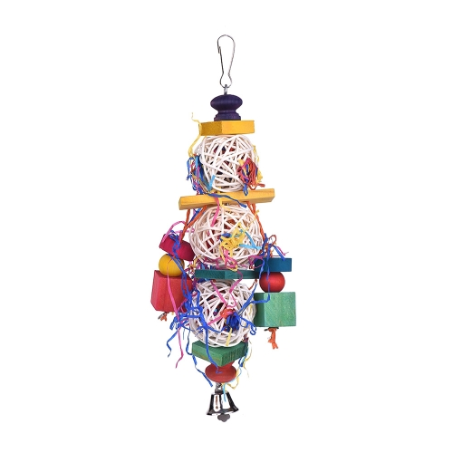 Color Bird Toy Cage Accessories Juguetes masticables Bite Swing Juguete colgante con Bell para loro