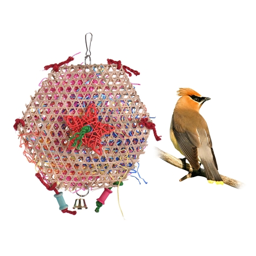 Natural Parrot Chew Bite Swing Toy Colorful Bird Cage Accessories Hanging Toys for Parakeet Budgie Macaw Cockatoo
