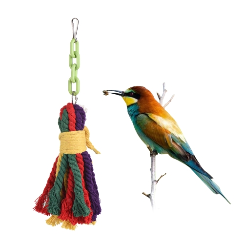 Colorful Parrot Chew Bite Toy Accesorios para jaula de pájaros Juguetes colgantes de tela para periquito Budgie Macaw Cockatoo