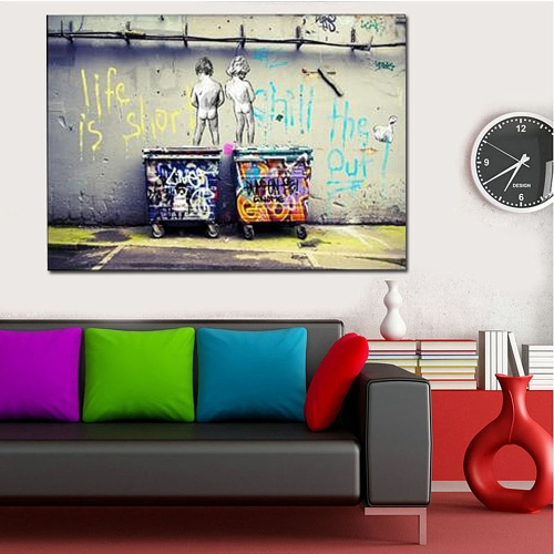 50 * 70cm HD Printed Frameless Scrawl Kids Style Canvas Painting Wall Art Pictures Decor for Home Living Room Bedroom