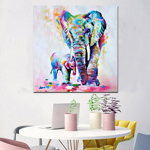 50 * 50 cm HD Gedruckt Frameless Aquarell Elefanten Leinwand Malerei Wandkunst Bilder Dekor für Zuhause Wohnzimmer Schlafzimmer