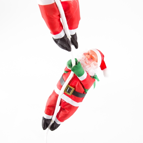 Christmas Santa Claus Doll 25CM Two Santa Climb Rope Christmas Tree Ornaments Wall Window Hanging Decorations for Home