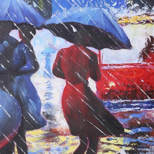 24 * 35 Zoll Unframed wasserdichte handgemalte Ölgemälde abstrakte Fußgänger in Regen Leinwand Bild Wall Art Decor für Wohnzimmer Büro