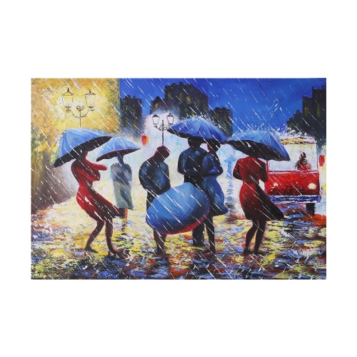 24 * 35 inches Unframed Waterproof Hand-Painted Oil Painting Abstract Pedestrians in Rain Canvas Picture Wall Art Decor for Living Room Office