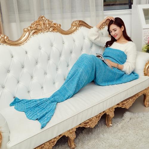 Handcrafted Knit Blanket Смешное уникальное обложка для русых русалок в натуральную величину для женщин для девочек Warm Winter Gift