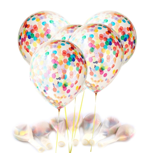 """12 """"balony konfetti przezroczyste balony lateksowe z gwiazdą Multicolor Confettis papier krepski na przyjęcie weselne urodziny dekoracje na Halloween z kolorowymi papierami krepowymi"""