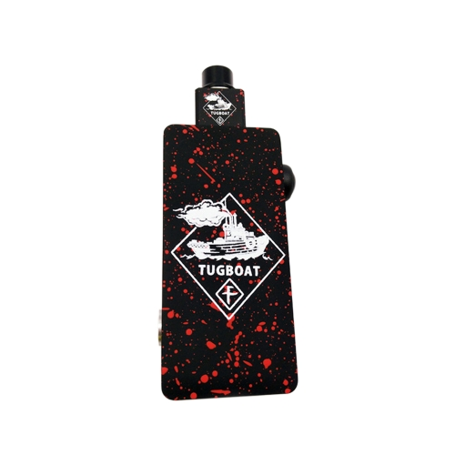 Electronic Cigarette Tug Boat Box Mod Kit with Colorful Tuglyfe Portable Unregulated Cubed RDA Mechanical Vape E-cigarette Red+Black