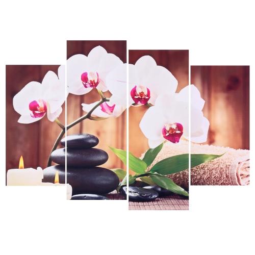 HD Imprimé 4-Panneau Sans Cadre Papillon Orchidée Motif Toile Peinture Mur Art Modulaire Photos Décor pour Maison Salon Chambre