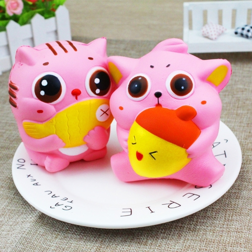 Exquisite Fun Soft Cat Cartoon Squishy Slow Rising Squeeze Toy Phone Straps Ballchains Simulation Kawaii Squishies Cream Scented Fidget Toys for Kids