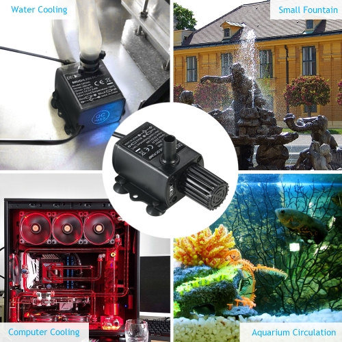 Decdeal USB DC5V 2.4W Ultra-quiet Mini Brushless Water Pump Waterproof Submersible Fountain Aquarium Circulating 250L/H Lift 200cm