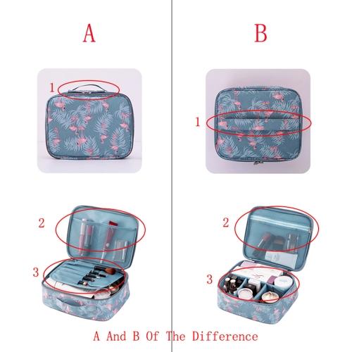 Flamingo Beautician Cosmetic Case Double Zipper Women Travel Organizer Waterproof Portable Large Capacity Storage Bag Makeup Bags Toiletry Kits A1