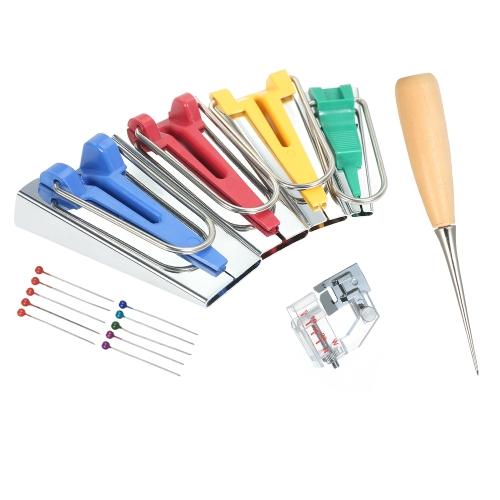4pcs Bias Tape Makers + Binder Foot / Pins / Sewing Awl 6mm / 12mm / 18mm / 25mm Набор инструментов для изготовления ленты для ткани
