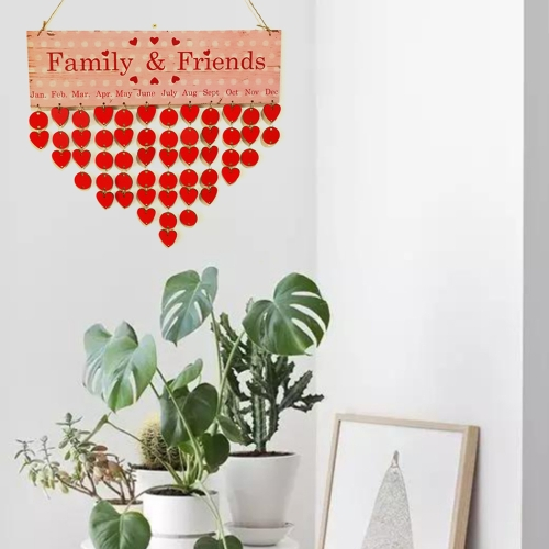 TOMTOP / DIY Wood Family Friends Birthday Reminder Special Dates Planner Board Wooden Calendar Home Hanging Decor Gift Style 1