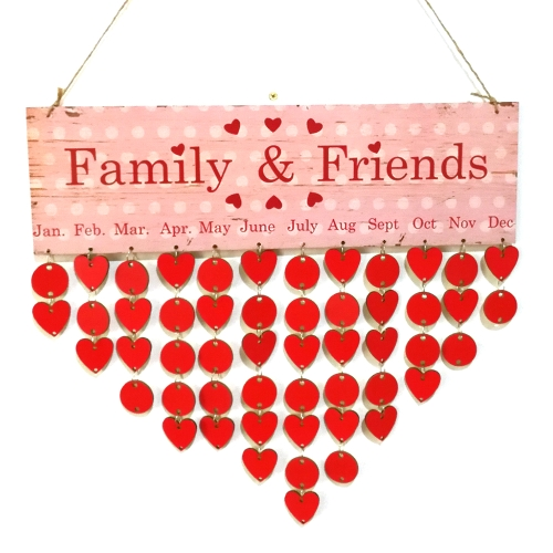 DIY Familia de madera Amigos Recordatorio de cumpleaños Fechas especiales Planificador Junta Calendario de madera Hogar Colgante Decoración Regalo Estilo 1