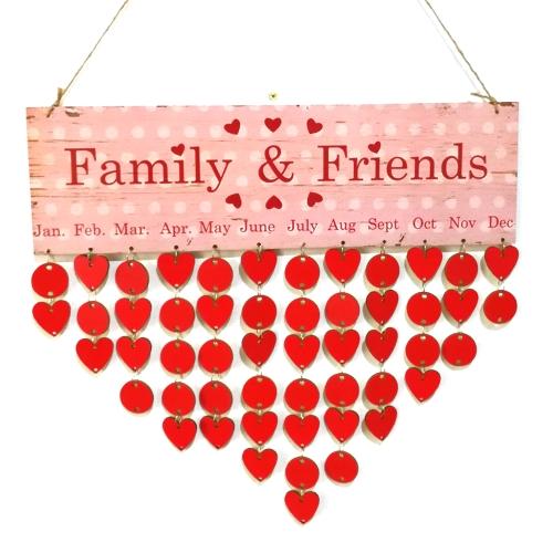 DIY Wood Family Friends Birthday Reminder Special Dates Planner Board Деревянный календарь Главная Висячий декор Подарочный стиль 1