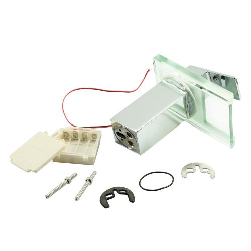 Image of Power LED Bad Becken Wasserhahn Warm und Kalt Kran Becken Wasserhahn Wasserfall Armaturen