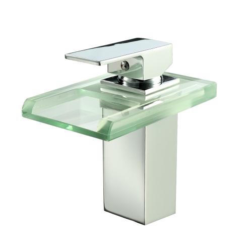 Robinet d'eau de bassin de salle de bains de LED de puissance Robinet de cascade de robinet de bassine chaude et froide de grue