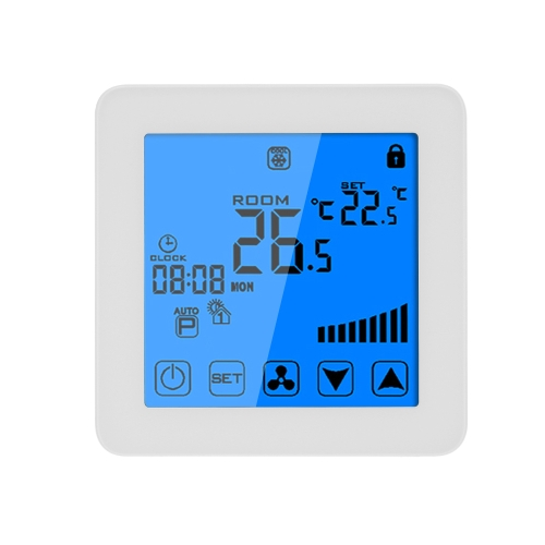 200-230V Programmable Thermostat Air Conditioner 2-pipe 4-pipe Temperature Controller LCD Touch Screen Air Heating Condition Temp Control Underfloor 3A 7-Day 4-Period Programming Backlight White