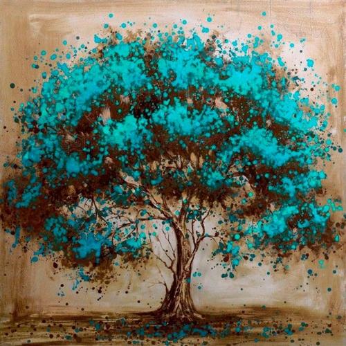 10 * 10 polegadas / 25 * 25 cm DIY 5D Pintura Diamante Kit Cor Árvore Resina Strass Mosaico Bordado Ponto Cruz Craft Casa Decoração Da Parede