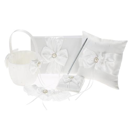5 unids / set blanco suministros de la boda de raso flor niña cesta + 7 * 7 pulgadas anillo portador almohada + libro de visitas + sostenedor de la pluma + novia liga juego