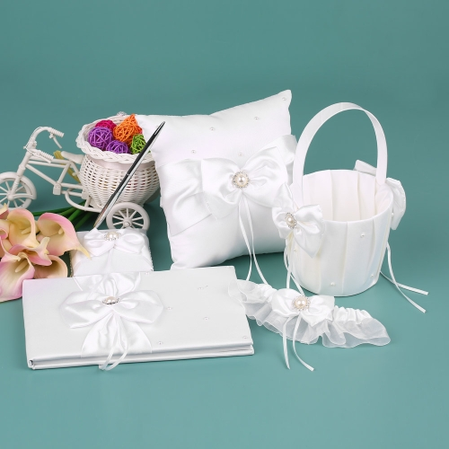5pcs/set White Wedding Supplies Satin Flower Girl Basket + 7 * 7 inches Ring Bearer Pillow + Guest Book + Pen Holder + Bride Garter Set