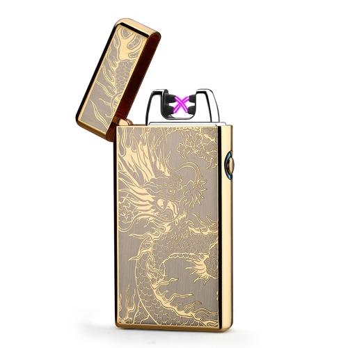 Machine de feu électronique rechargeable par USB rechargeable coupe-vent en métal sans flamme cigarettes allume-cigare de double arc pulsé