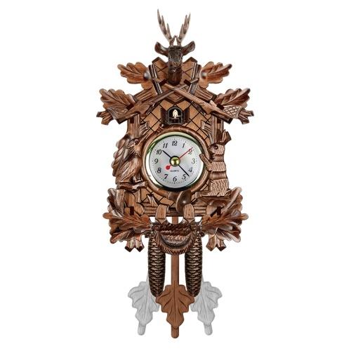 Relógio De Parede de Cuco Pássaro Madeira Decorações de Suspensão para Casa Cafe Restaurante Arte Do Vintage Chique Balanço Estilo Sala 1