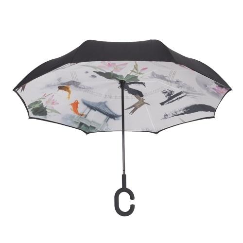 Hands-free Dual Layers Обратный защищенный от атмосферных воздействий рекламный зонт для автомобилей с водонепроницаемыми перевернутыми зонтиками