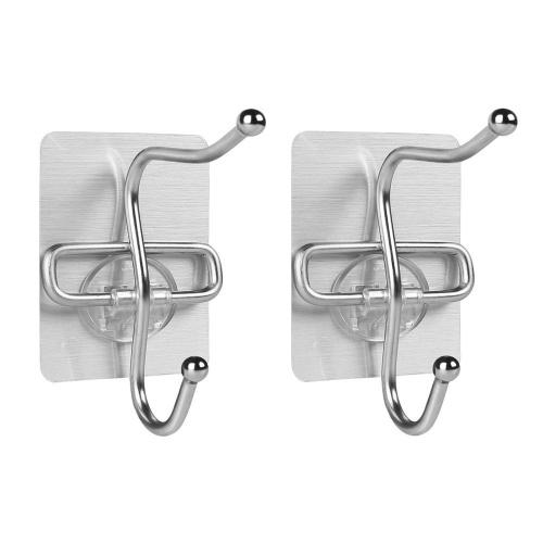 2Pcs Бесшовные одежды Хранение Хранение Сильные клеящие дверные крючки для многоразового использования для подвесной кухни Ванная комната