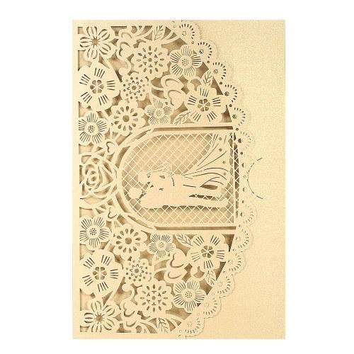Свадебная пригласительная открытка Обложка Жемчужная бумага Лазерная вырезка Свадебный свадебный шаблон Приглашения на свадьбу Свадебные юбилейные товары - Золото