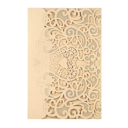 Обложка для приглашения на свадьбу Жемчужная бумага Лазерная резка Полые шаблоны для сердечек Пригласительные открытки Свадебные подарки - Золото