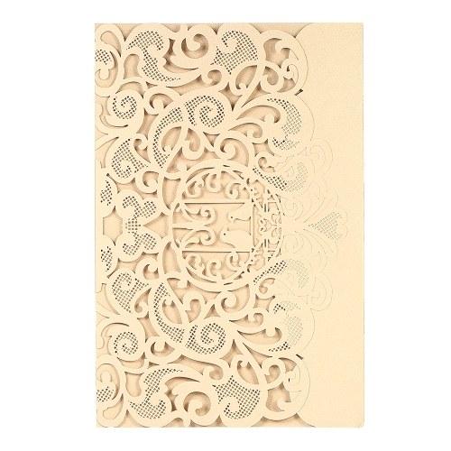 Carta per invito a nozze Carta pergamena a forma di laser Carta per uccelli con motivo a tema Invito per matrimonio - oro