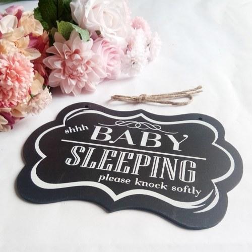 Настенный подвесной орнамент Окрашенные деревянные декоративные Shhh Baby Sleeping Door Sign Черный декор для дома Party Supply Style 1 фото