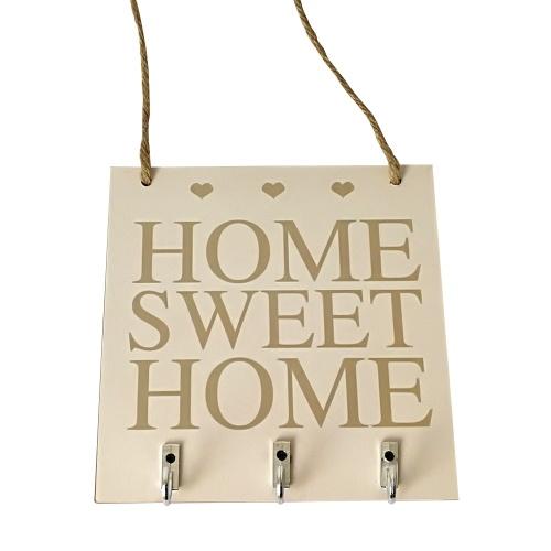 Dekorative Wand Home Sweet rustikale weiße Holz hängende Plaque Zeichen mit Haken Key Hanger Geschenk