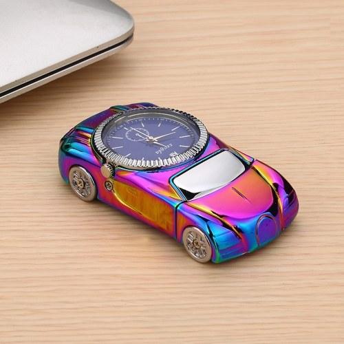 2-в-1 USB аккумуляторная двухсторонняя электронная Hit Fire Machine ветрозащитный беспламенный спортивный автомобиль и часы Metal Smoking Lighters with Heating Wire