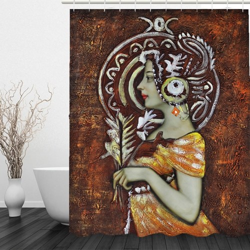Simulation 3D Ethnic Style Character Leaves Waterproof Shower Curtain Drapes of Bathroom Toilet with Hooks