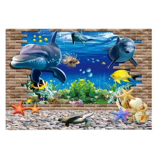 ПВХ водонепроницаемый односторонний океан природный ландшафт рыбы чаша наклейка аквариум фон плакат стены картина