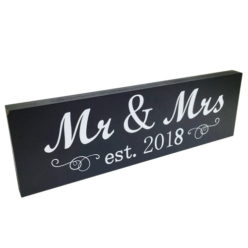 Mr & Mrs 2018 Sign Wood Sweetheart Настольное настенное украшение для свадебного юбилея Photo Props Party Banner