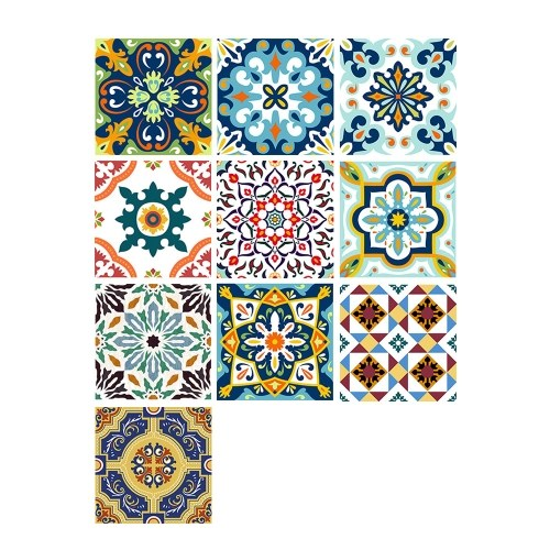 10 Unids / Set Autoadhesivas Azulejos Adhesivos