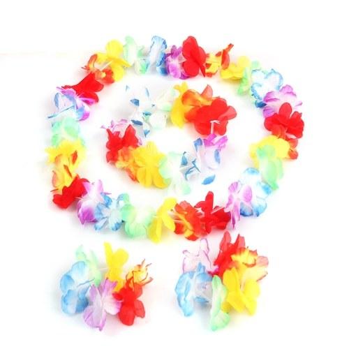4Pcs / Set Luau Tropical Hawaiian Wreath Summer Flower Party Decorations