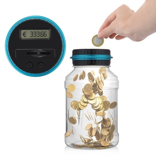 Large Digital LCD Screen Automated Coin Counting Save Money Box for USD